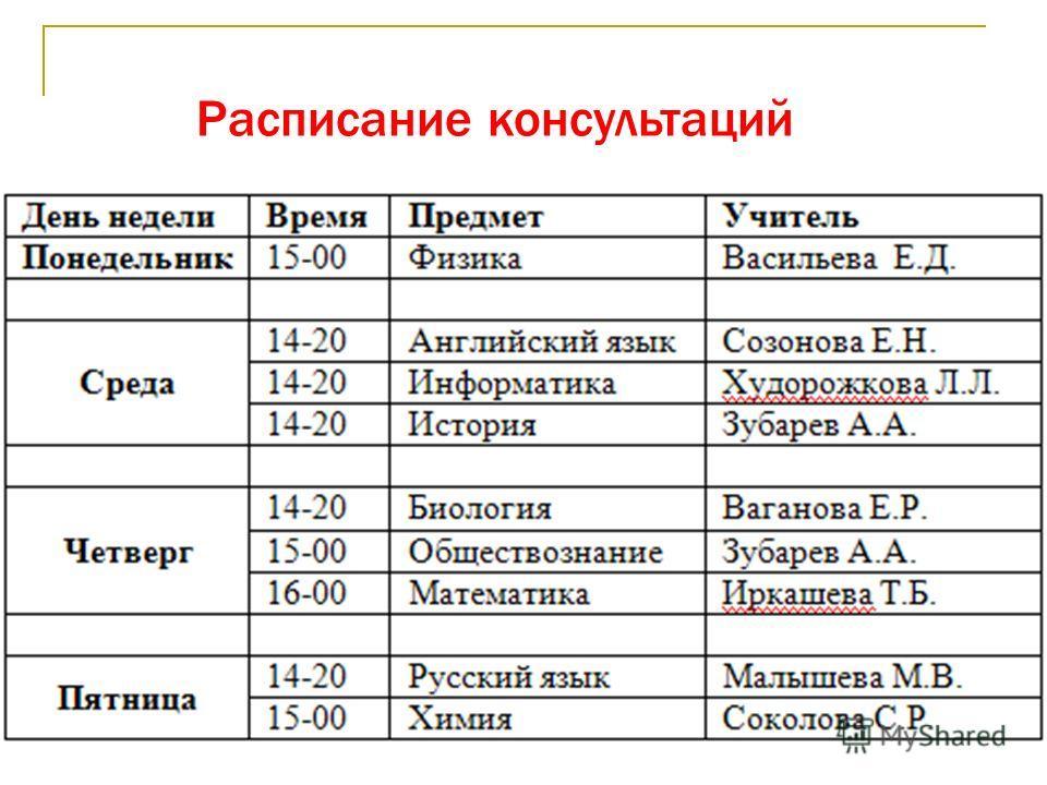 Расписание консультаций