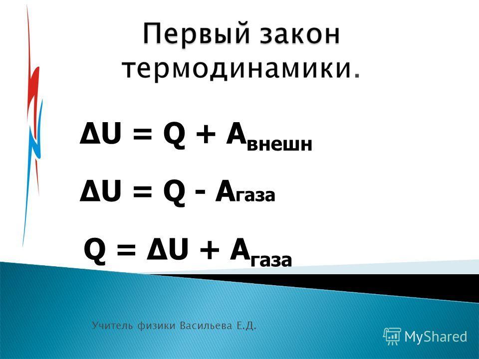 Учитель физики Васильева Е.Д. U = Q + A внешн U = Q - A газа Q = U + A газа