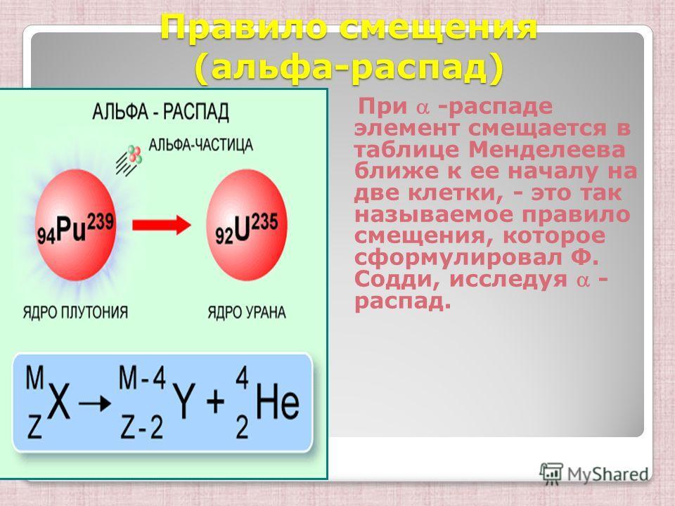 Правило смещения (альфа-распад) При -распаде элемент смещается в таблице Менделеева ближе к ее началу на две клетки, - это так называемое правило смещения, которое сформулировал Ф. Содди, исследуя - распад.