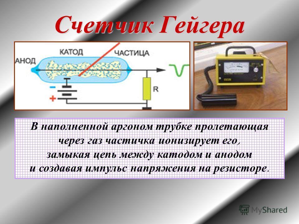 Счетчик Гейгера В наполненной аргоном трубке пролетающая через газ частичка ионизирует его, замыкая цепь между катодом и анодом и создавая импульс напряжения на резисторе.
