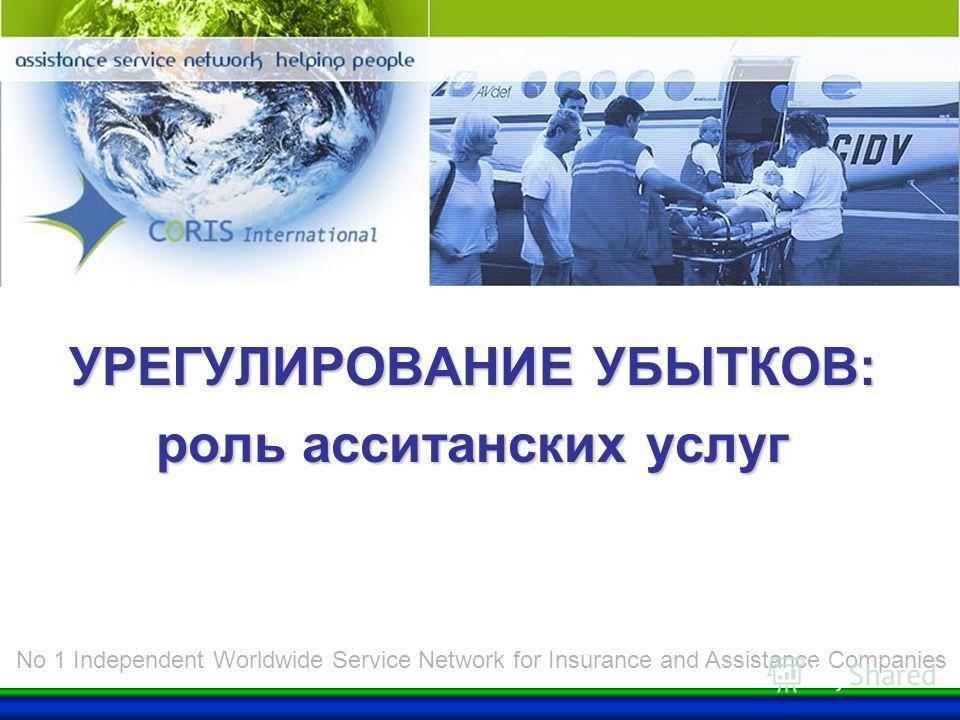 CORIS Group УРЕГУЛИРОВАНИЕ УБЫТКОВ: роль асситанских услуг No 1 Independent Worldwide Service Network for Insurance and Assistance Companies