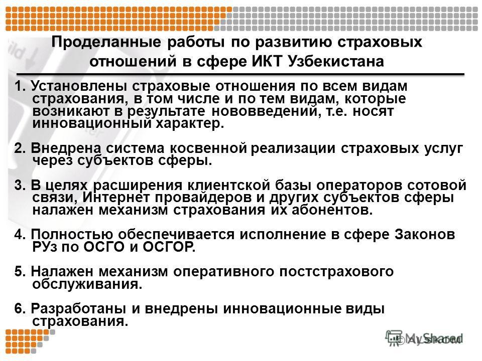 Проделанные работы по развитию страховых отношений в сфере ИКТ Узбекистана 1. Установлены страховые отношения по всем видам страхования, в том числе и по тем видам, которые возникают в результате нововведений, т.е. носят инновационный характер. 2. Вн