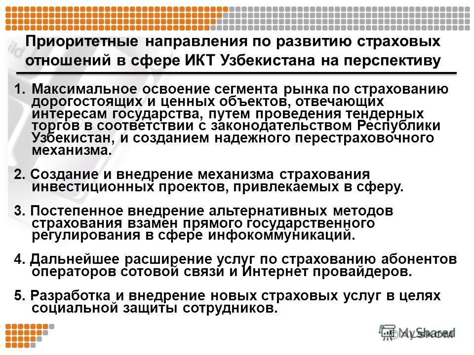 Приоритетные направления по развитию страховых отношений в сфере ИКТ Узбекистана на перспективу 1.Максимальное освоение сегмента рынка по страхованию дорогостоящих и ценных объектов, отвечающих интересам государства, путем проведения тендерных торгов