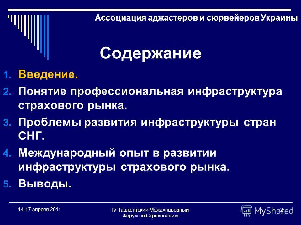 IV Ташкентский Международный Форум по Страхованию 2 14-17 апреля 2011 Содержание 1. Введение. 2. Понятие профессиональная инфраструктура страхового рынка. 3. Проблемы развития инфраструктуры стран СНГ. 4. Международный опыт в развитии инфраструктуры