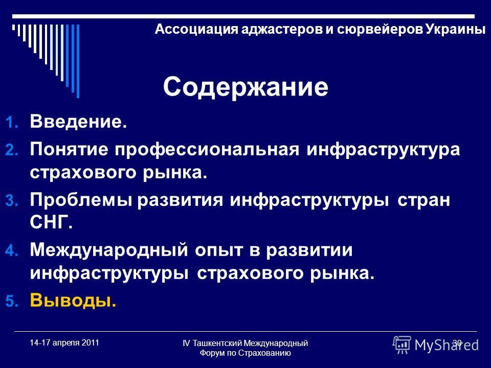 IV Ташкентский Международный Форум по Страхованию 30 14-17 апреля 2011 Содержание 1. Введение. 2. Понятие профессиональная инфраструктура страхового рынка. 3. Проблемы развития инфраструктуры стран СНГ. 4. Международный опыт в развитии инфраструктуры