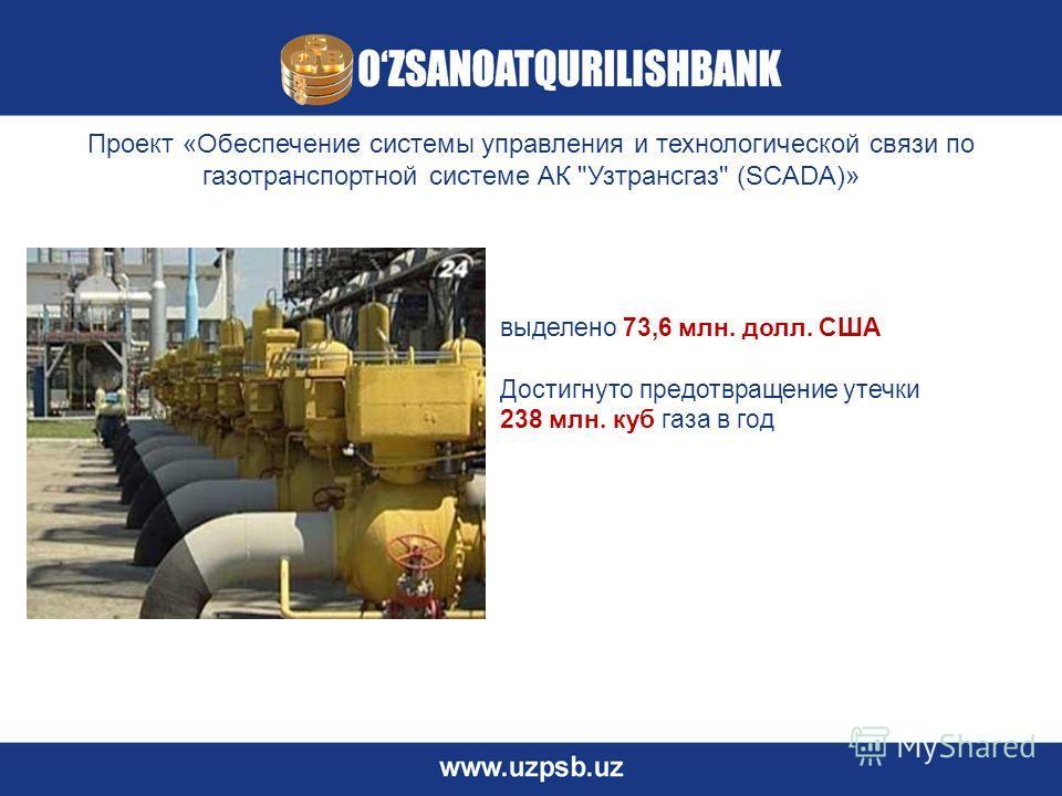 Проект «Обеспечение системы управления и технологической связи по газотранспортной системе АК Узтрансгаз (SCADA)» выделено 73,6 млн. долл. США Достигнуто предотвращение утечки 238 млн. куб газа в год