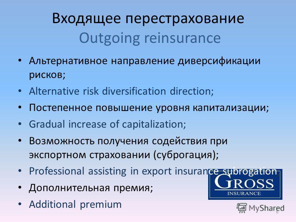 Входящее перестрахование Outgoing reinsurance 6 Альтернативное направление диверсификации рисков; Alternative risk diversification direction; Постепенное повышение уровня капитализации; Gradual increase of capitalization; Возможность получения содейс