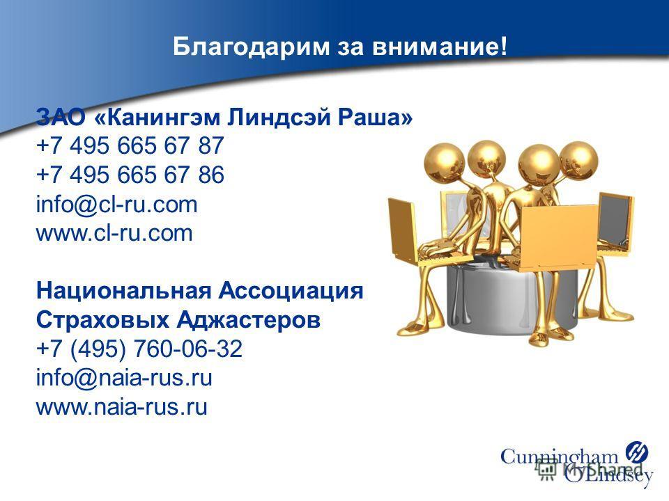 Благодарим за внимание! ЗАО «Канингэм Линдсэй Раша» +7 495 665 67 87 +7 495 665 67 86 info@cl-ru.com www.cl-ru.com Национальная Ассоциация Страховых Аджастеров +7 (495) 760-06-32 info@naia-rus.ru www.naia-rus.ru