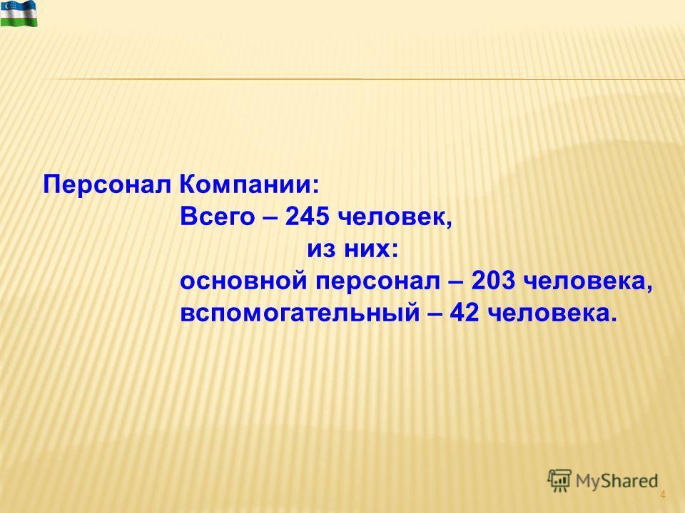 4 Персонал Компании: Всего – 245 человек, из них: основной персонал – 203 человека, вспомогательный – 42 человека.