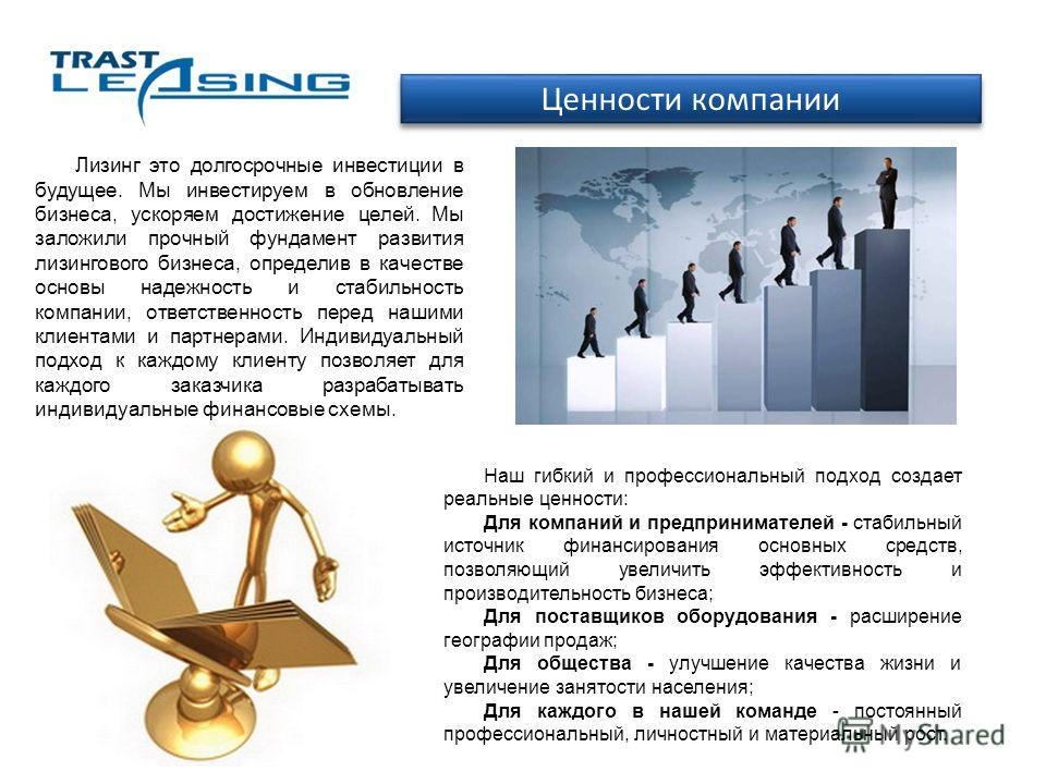 Ценности компании Лизинг это долгосрочные инвестиции в будущее. Мы инвестируем в обновление бизнеса, ускоряем достижение целей. Мы заложили прочный фундамент развития лизингового бизнеса, определив в качестве основы надежность и стабильность компании