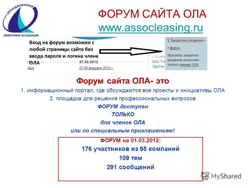ФОРУМ САЙТА ОЛА www.assocleasing.ru www.assocleasing.ru Форум сайта ОЛА- это 1. информационный портал, где обсуждаются все проекты и инициативы ОЛА 2. площадка для решения профессиональных вопросов ФОРУМ доступен ТОЛЬКО для членов ОЛА или по специаль