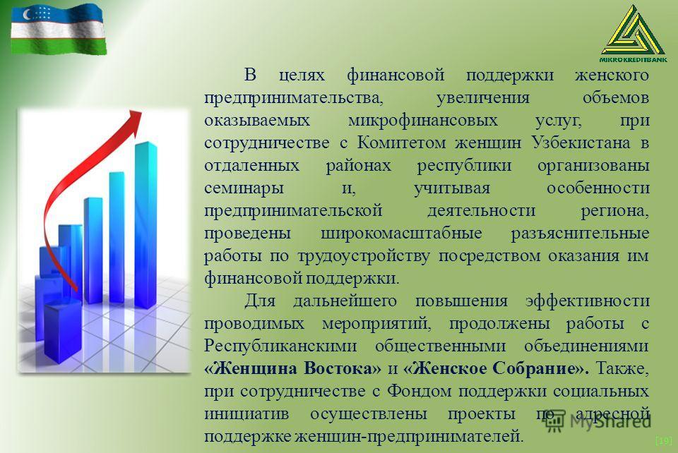 [19] В целях финансовой поддержки женского предпринимательства, увеличения объемов оказываемых микрофинансовых услуг, при сотрудничестве с Комитетом женщин Узбекистана в отдаленных районах республики организованы семинары и, учитывая особенности пред