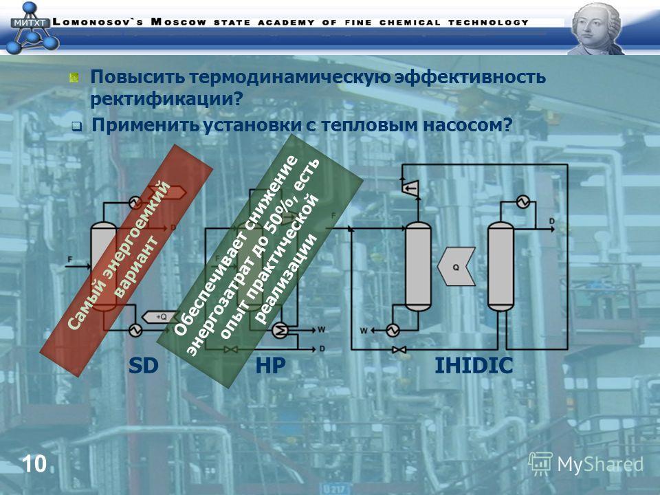 10 Повысить термодинамическую эффективность ректификации? Применить установки с тепловым насосом? SD HP IHIDIC Самый энергоемкий вариант Обеспечивает снижение энергозатрат до 50%, есть опыт практической реализации