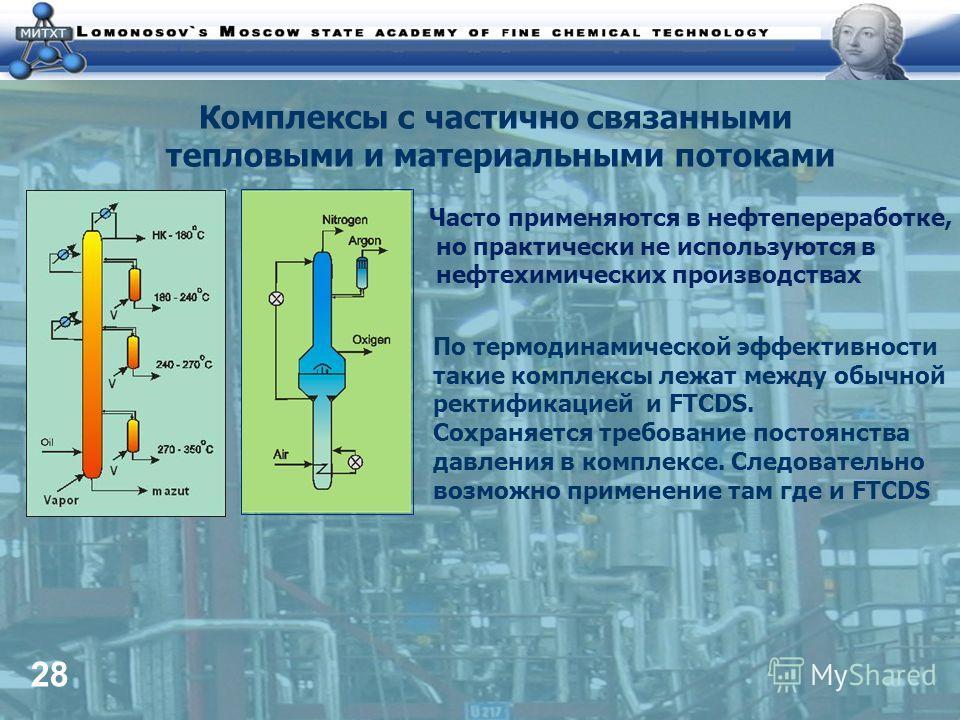 28 Комплексы с частично связанными тепловыми и материальными потоками Часто применяются в нефтепереработке, но практически не используются в нефтехимических производствах По термодинамической эффективности такие комплексы лежат между обычной ректифик