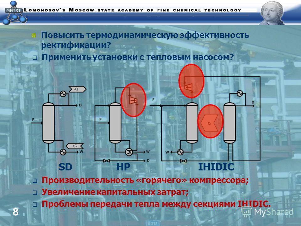 8 Повысить термодинамическую эффективность ректификации? Применить установки с тепловым насосом? SD HP IHIDIC Производительность «горячего» компрессора; Увеличение капитальных затрат; Проблемы передачи тепла между секциями IHIDIC.