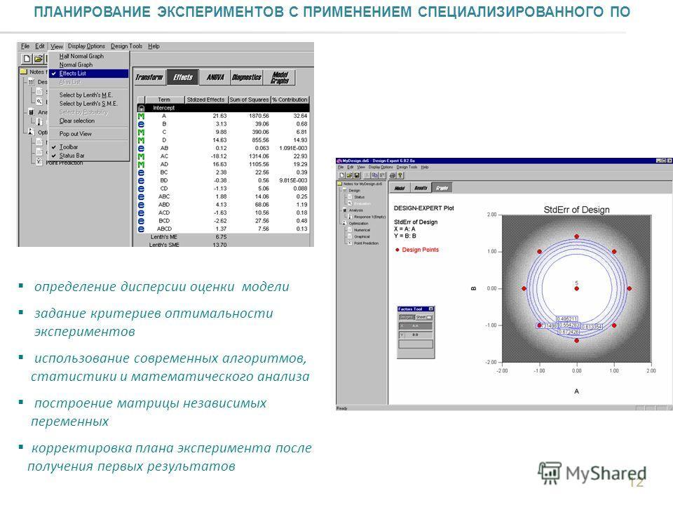ПЛАНИРОВАНИЕ ЭКСПЕРИМЕНТОВ С ПРИМЕНЕНИЕМ СПЕЦИАЛИЗИРОВАННОГО ПО определение дисперсии оценки модели задание критериев оптимальности экспериментов использование современных алгоритмов, статистики и математического анализа построение матрицы независимы