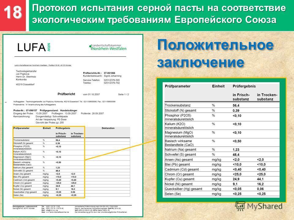18 Протокол испытания серной пасты на соответствие экологическим требованиям Европейского Союза Положительное заключение Положительное заключение