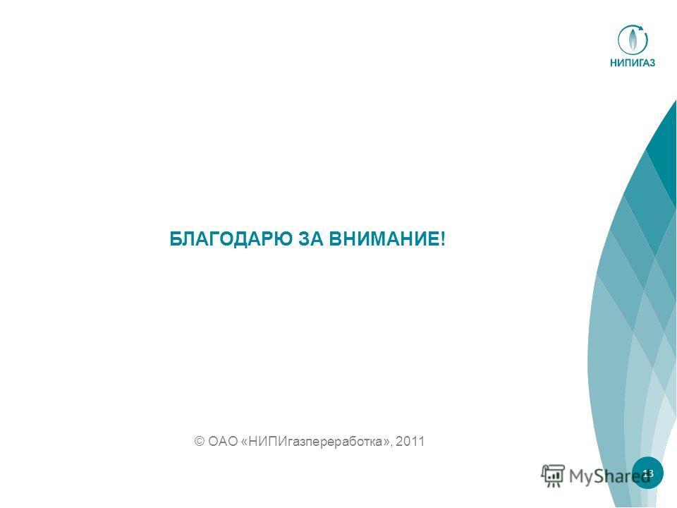 © ОАО «НИПИгазпереработка», 2011 БЛАГОДАРЮ ЗА ВНИМАНИЕ! 13