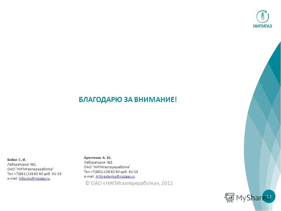 © ОАО «НИПИгазпереработка», 2012 БЛАГОДАРЮ ЗА ВНИМАНИЕ! 12 Арестенко А. Ю. Лаборатория 1 ОАО
