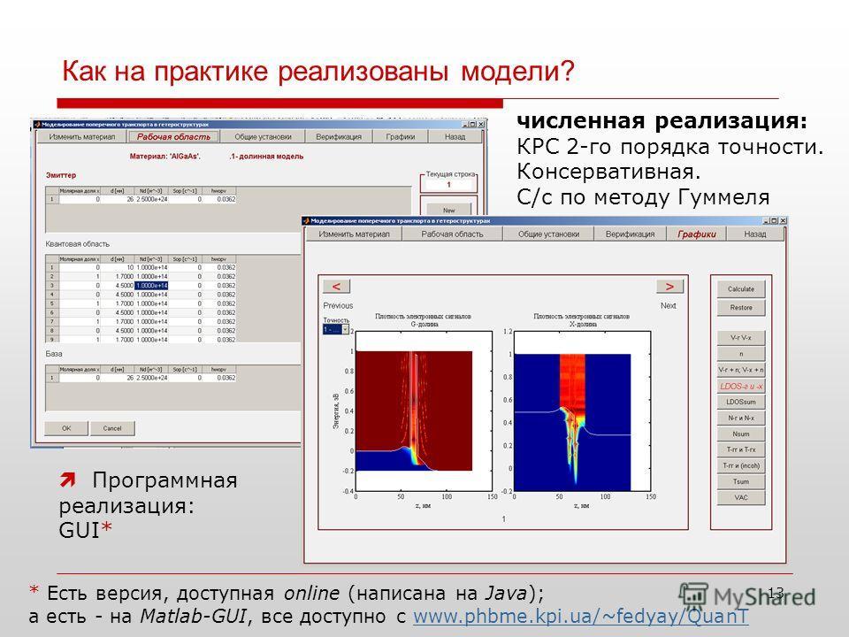 Как на практике реализованы модели? 13 Программная реализация: GUI* численная реализация: КРС 2-го порядка точности. Консервативная. С/c по методу Гуммеля * Есть версия, доступная online (написана на Java); а есть - на Matlab-GUI, все доступно с www.