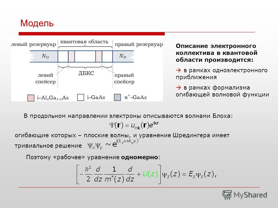 Модель Описание электронного коллектива в квантовой области производится: в рамках одноэлектронного приближения в рамках формализма огибающей волновой функции В продольном направлении электроны описываются волнами Блоха: Поэтому «рабочее» уравнение о