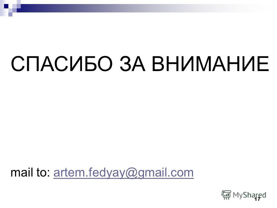 17 СПАСИБО ЗА ВНИМАНИЕ mail to: artem.fedyay@gmail.comartem.fedyay@gmail.com