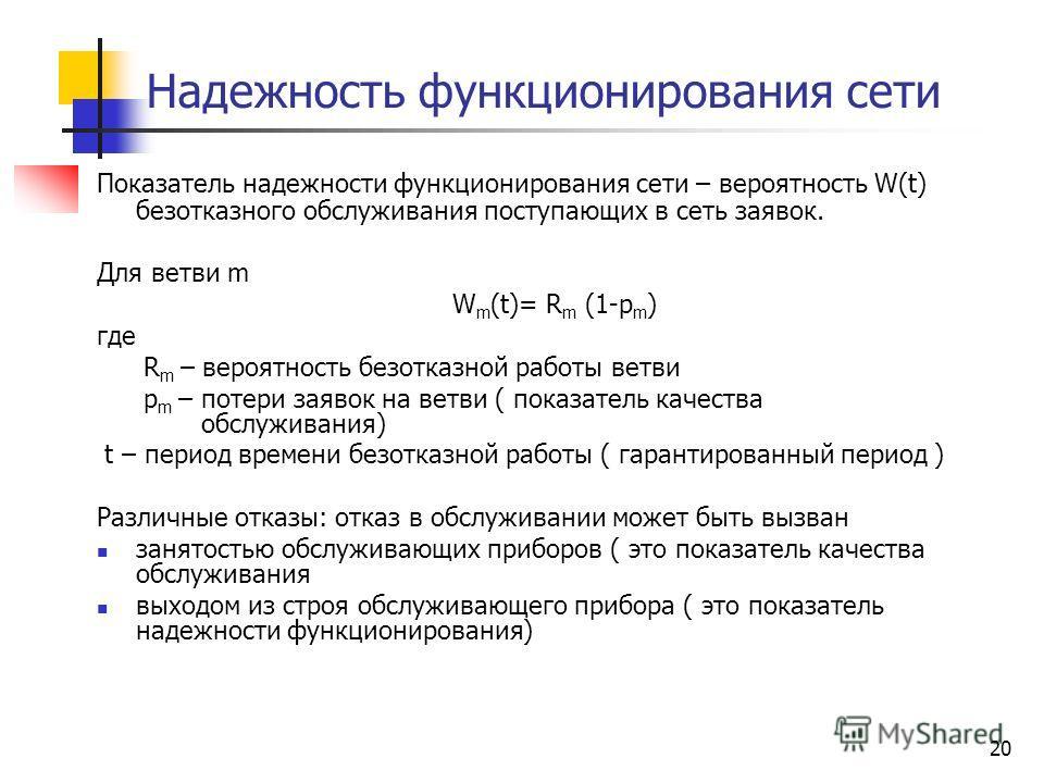 20 Надежность функционирования сети Показатель надежности функционирования сети – вероятность W(t) безотказного обслуживания поступающих в сеть заявок. Для ветви m W m (t)= R m (1-p m ) где R m – вероятность безотказной работы ветви p m – потери заяв