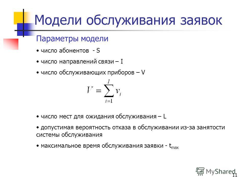 10 Модели обслуживания заявок Математические модели описывают процессы поступления и обслуживания заявок в телекоммуникационной системе Структурная схема модели обслуживания заявок