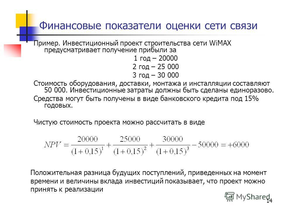 14 Финансовые показатели оценки сети связи Пример. Инвестиционный проект строительства сети WiMAX предусматривает получение прибыли за 1 год – 20000 2 год – 25 000 3 год – 30 000 Стоимость оборудования, доставки, монтажа и инсталляции составляют 50 0