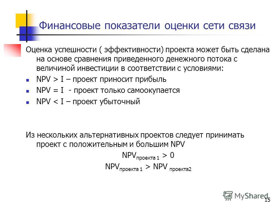15 Финансовые показатели оценки сети связи Оценка успешности ( эффективности) проекта может быть сделана на основе сравнения приведенного денежного потока с величиной инвестиции в соответствии с условиями: NPV > I – проект приносит прибыль NPV = I -