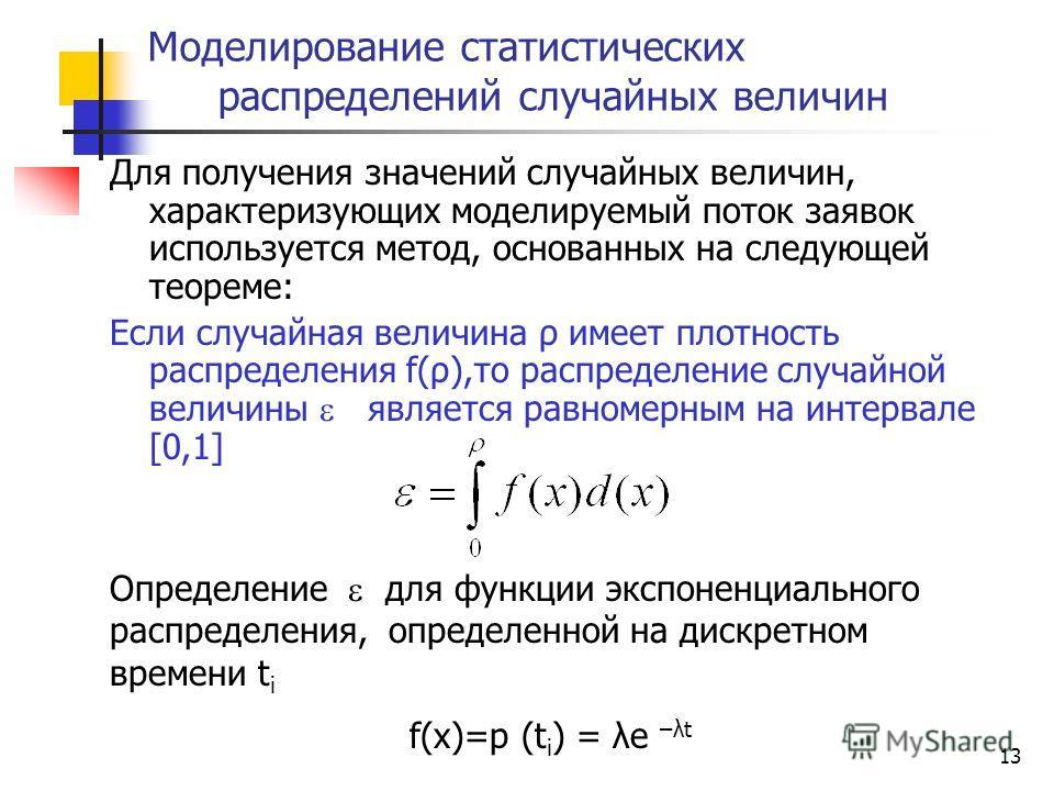 13 Для получения значений случайных величин, характеризующих моделируемый поток заявок используется метод, основанных на следующей теореме: Если случайная величина ρ имеет плотность распределения f(ρ),то распределение случайной величины является равн