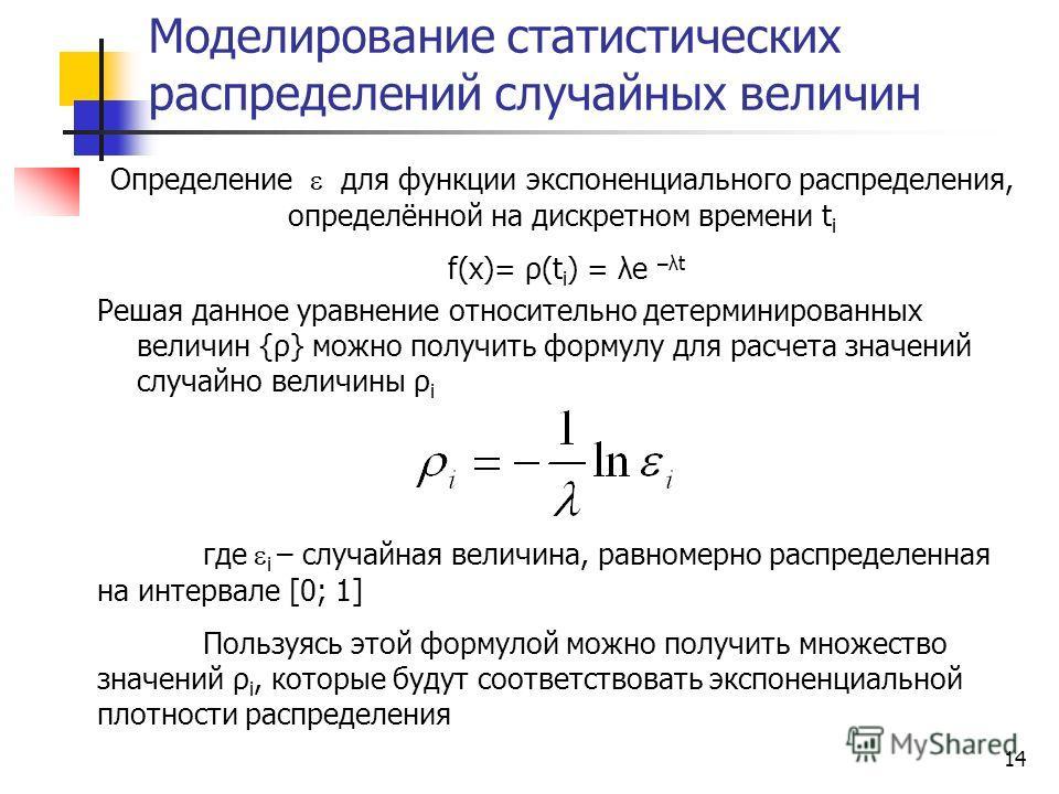 14 Моделирование статистических распределений случайных величин где i – случайная величина, равномерно распределенная на интервале [0; 1] Пользуясь этой формулой можно получить множество значений ρ i, которые будут соответствовать экспоненциальной пл