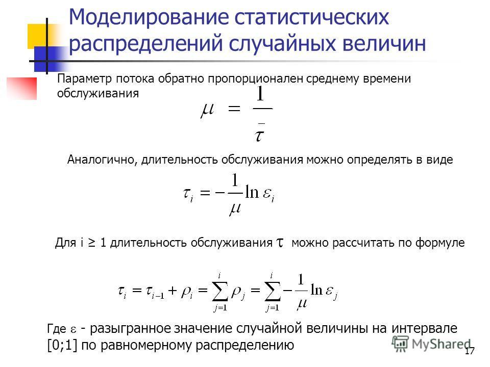 17 Моделирование статистических распределений случайных величин Параметр потока обратно пропорционален среднему времени обслуживания Аналогично, длительность обслуживания можно определять в виде Для i 1 длительность обслуживания можно рассчитать по ф
