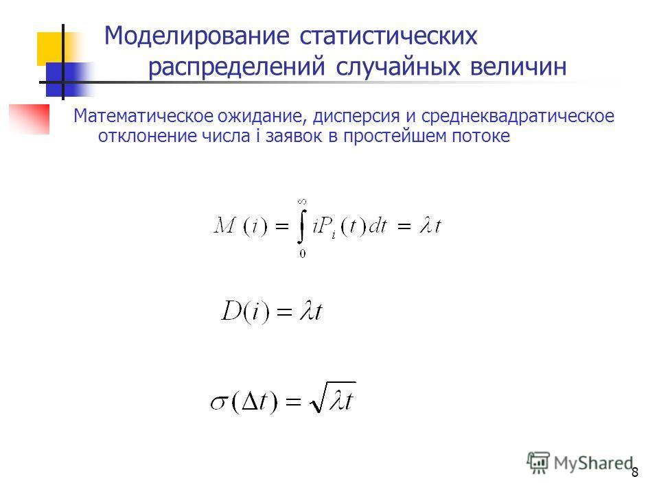 Математическое ожидание, дисперсия и среднеквадратическое отклонение числа i заявок в простейшем потоке 8 Моделирование статистических распределений случайных величин