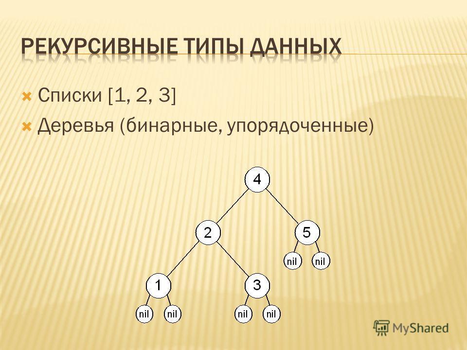 Списки [1, 2, 3] Деревья (бинарные, упорядоченные)