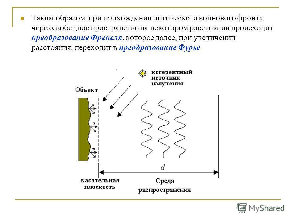 Таким образом, при прохождении оптического волнового фронта через свободное пространство на некотором расстоянии происходит преобразование Френеля, которое далее, при увеличении расстояния, переходит в преобразование Фурье