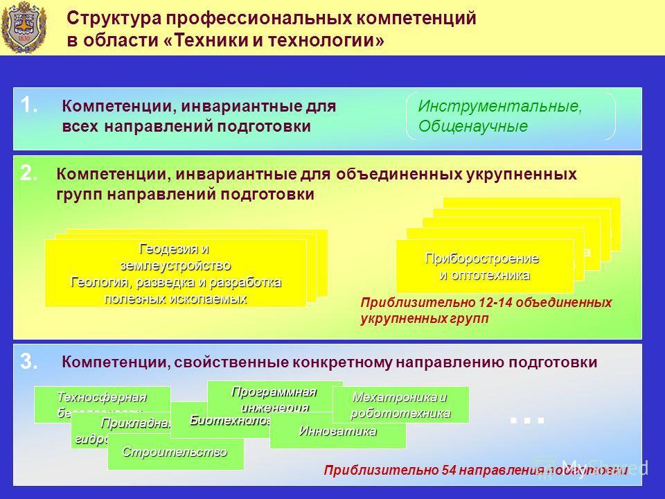 Структура профессиональных компетенций в области «Техники и технологии» Компетенции, инвариантные для всех направлений подготовки Инструментальные, Общенаучные Компетенции, инвариантные для объединенных укрупненных групп направлений подготовки Информ