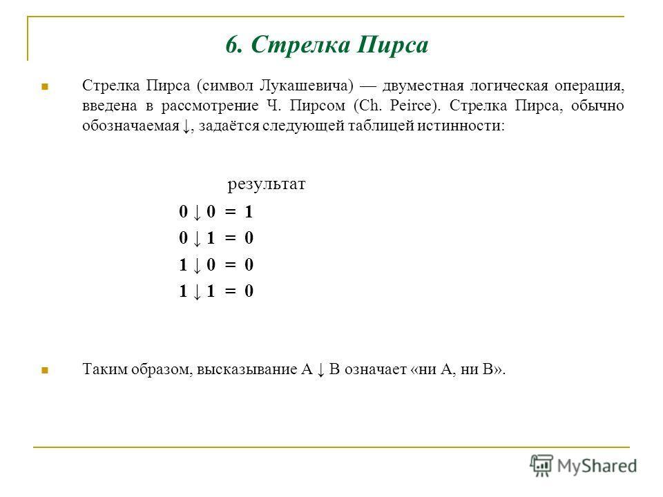 6. Стрелка Пирса Стрелка Пирса (символ Лукашевича) двуместная логическая операция, введена в рассмотрение Ч. Пирсом (Сh. Peirce). Стрелка Пирса, обычно обозначаемая, задаётся следующей таблицей истинности: результат 0 0 = 1 0 1 = 0 1 0 = 0 1 1 = 0 Та