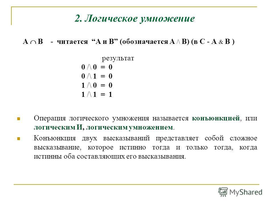 2. Логическое умножение А B - читается A и B (обозначается A /\ B) (в С - A & B ) результат 0 /\ 0 = 0 0 /\ 1 = 0 1 /\ 0 = 0 1 /\ 1 = 1 Операция логического умножения называется конъюнкцией, или логическим И, логическим умножением. Конъюнкция двух вы
