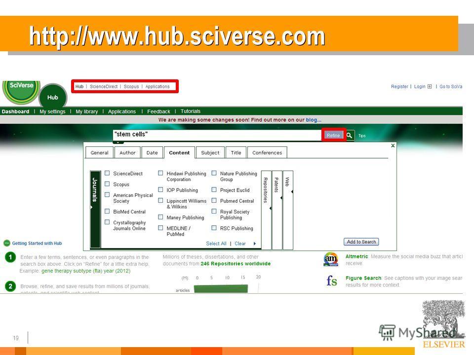 19 http://www.hub.sciverse.com