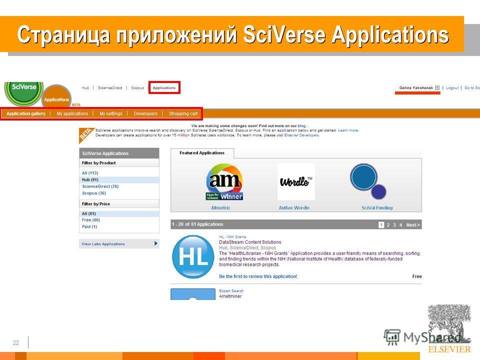 22 Страница приложений SciVerse Applications