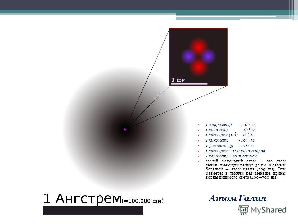 Атом Галия 1 микрометр - 10 -6 м 1 нанометр - 10 -9 м 1 ангстрем (1 Å) - 10 -10 м. 1 пикометр - 10 -12 м 1 фемтометр - 10 -15 м 1 ангстрем – 100 пикометров 1 нанометр - 10 ангстрем самый маленький атом это атом гелия, имеющий радиус 32 пм, а самый бо