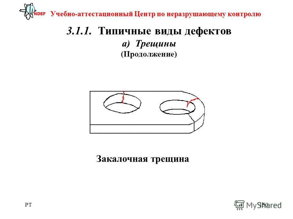 PT150 Учебно-аттестационный Центр по неразрушающему контролю NDEF 3.1.1. Типичные виды дефектов а) Трещины (Продолжение) Закалочная трещина