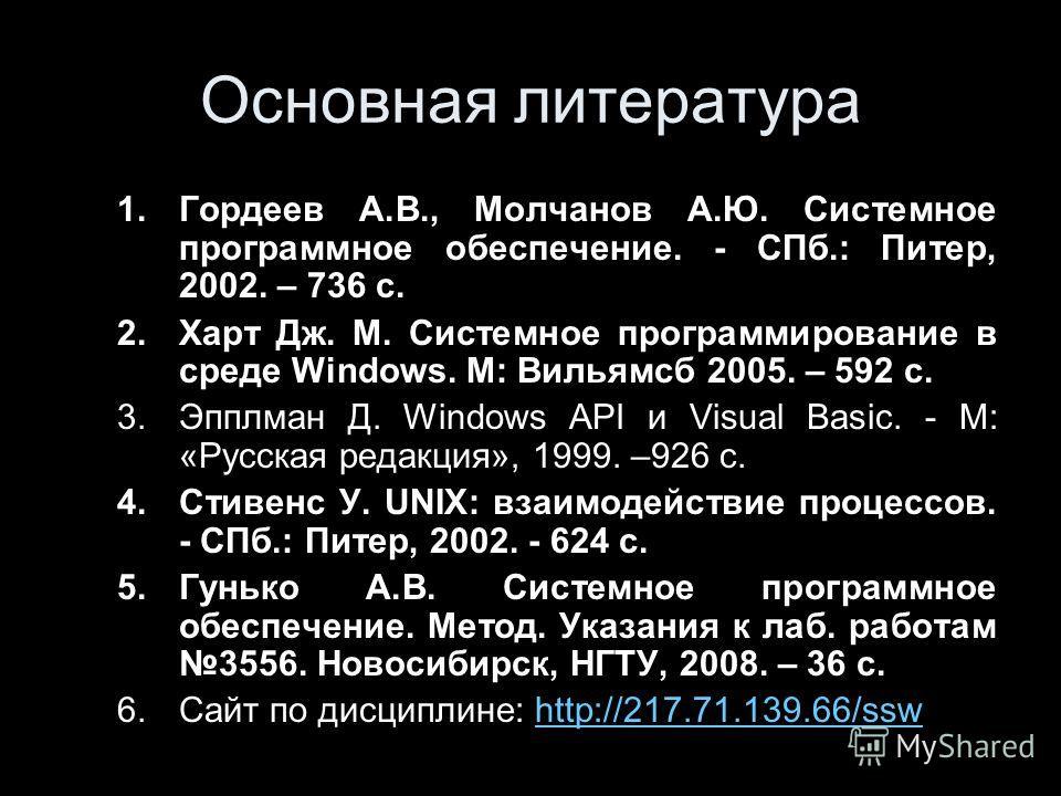Основная литература 1.Гордеев А.В., Молчанов А.Ю. Системное программное обеспечение. - СПб.: Питер, 2002. – 736 с. 2.Харт Дж. М. Системное программирование в среде Windows. М: Вильямсб 2005. – 592 с. 3.Эпплман Д. Windows API и Visual Basic. - М: «Рус