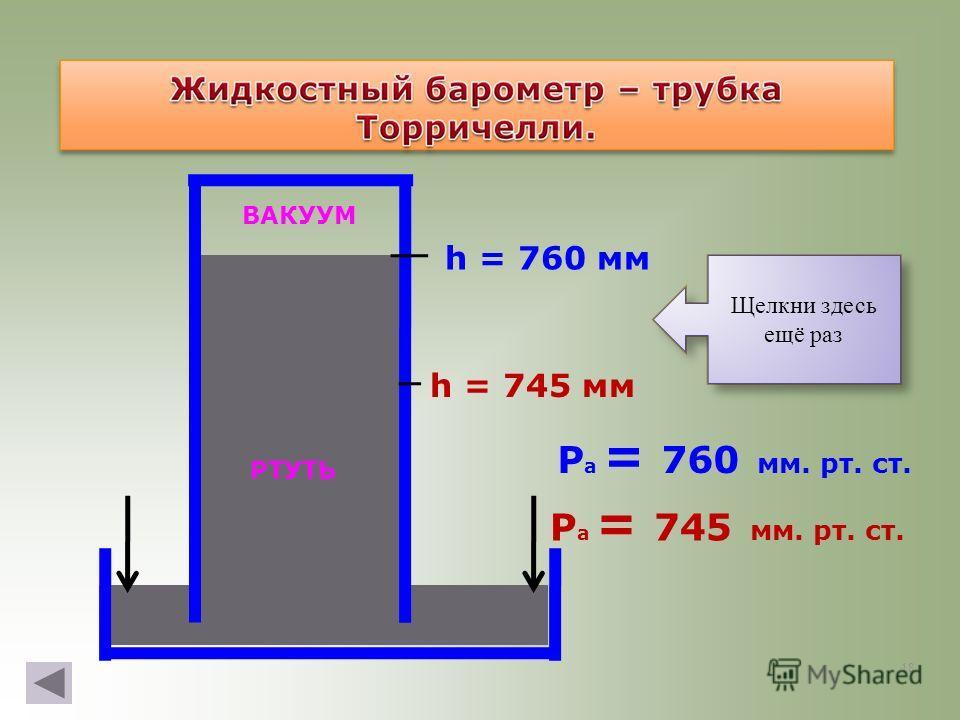18 Р а = 745 мм. рт. ст. h = 745 мм Р а = 760 мм. рт. ст. h = 760 мм Как действует? Щелкни здесь Щелкни здесь ещё раз ВАКУУМ РТУТЬ