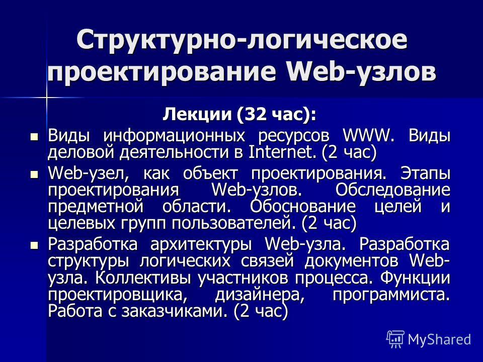 Структурно-логическое проектирование Web-узлов Лекции (32 час): Виды информационных ресурсов WWW. Виды деловой деятельности в Internet. (2 час) Виды информационных ресурсов WWW. Виды деловой деятельности в Internet. (2 час) Web-узел, как объект проек