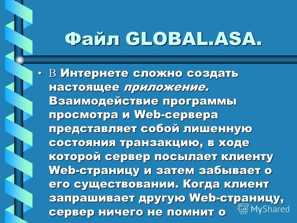 Файл GLOBAL.ASA. В Интернете сложно создать настоящее приложение. Взаимодействие программы просмотра и Web-сервера представляет собой лишенную состояния транзакцию, в ходе которой сервер посылает клиенту Web-страницу и затем забывает о его существова