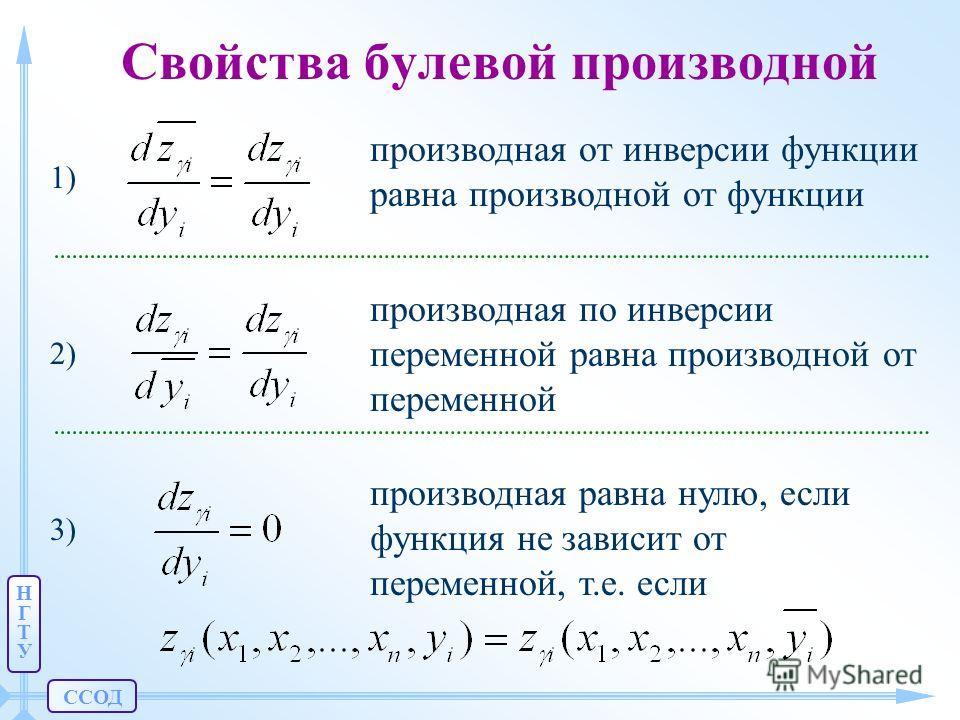 ССОД НГТУНГТУ Свойства булевой производной производная от инверсии функции равна производной от функции 1) производная по инверсии переменной равна производной от переменной 2) производная равна нулю, если функция не зависит от переменной, т.е. если