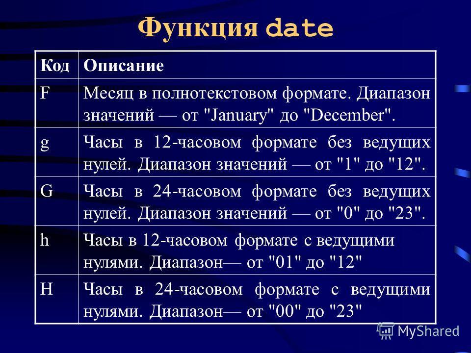 Функция date КодОписание FМесяц в полнотекстовом формате. Диапазон значений от