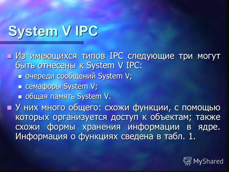 System V IPC Из имеющихся типов IPC следующие три могут быть отнесены к System V IPC: Из имеющихся типов IPC следующие три могут быть отнесены к System V IPC: очереди сообщений System V; очереди сообщений System V; семафоры System V; семафоры System